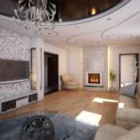 пример красивого декора гостиной с камином картинка