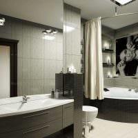 идея красивого стиля ванной с угловой ванной фото