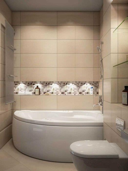 вариант красивого стиля ванной с угловой ванной