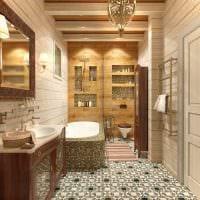 идея необычного дизайна ванной в деревянном доме картинка