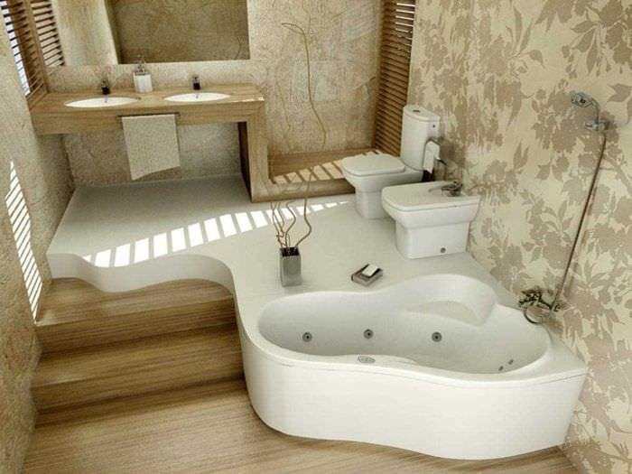 вариант необычного дизайна ванной с угловой ванной