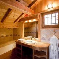вариант красивого интерьера ванной в деревянном доме картинка
