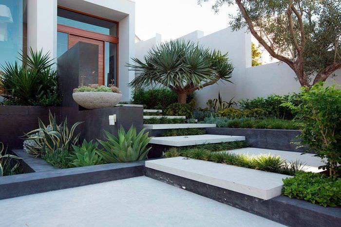 идея яркого ландшафного дизайна сада