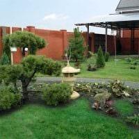 пример яркого ландшафтного дизайна частного двора картинка