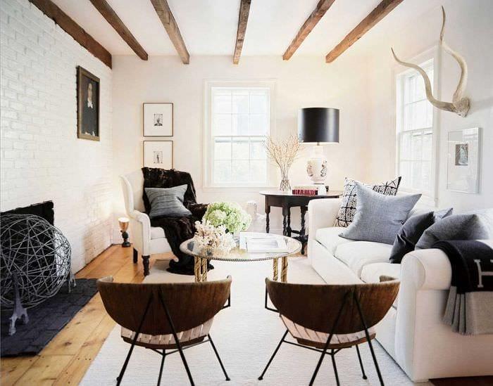 вариант красивого интерьера гостиной комнаты 2018
