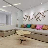 идея светлого декора гостиной в современном стиле картинка