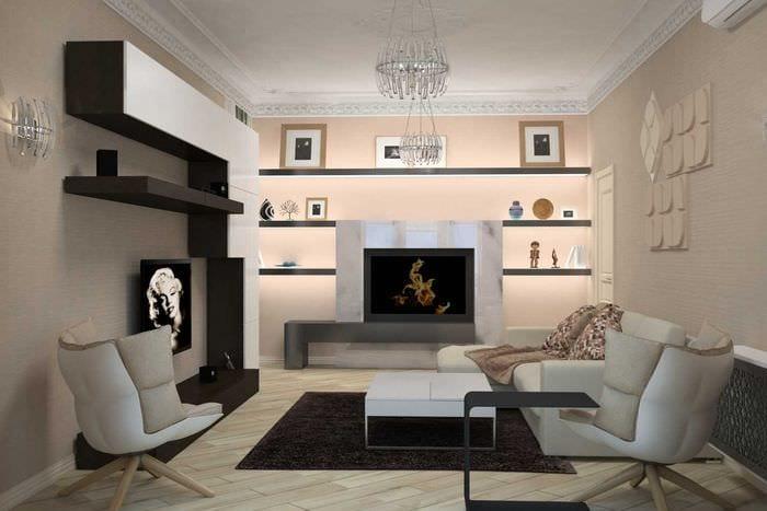 идея светлого декора гостиной в современном стиле