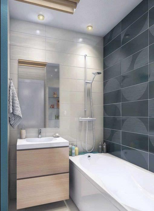 вариант яркого дизайна ванной комнаты 2.5 кв.м