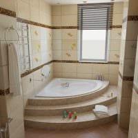 вариант современного интерьера ванной комнаты с угловой ванной картинка