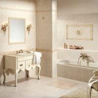вариант красивого дизайна ванной комнаты в бежевом цвете фото