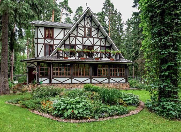 идея красивого дизайна двора частного дома