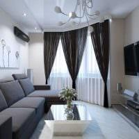 пример необычного декора гостиной комнаты с эркером фото