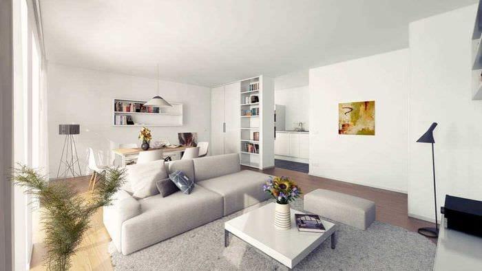 пример красивого декора гостиной комнаты в стиле минимализм