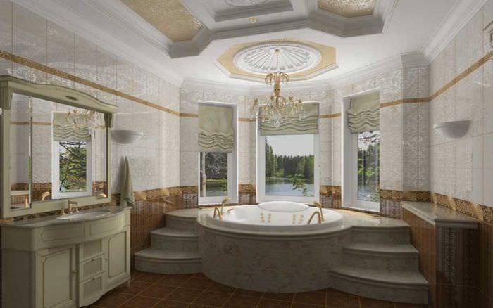 вариант светлого дизайна ванной в классическом стиле