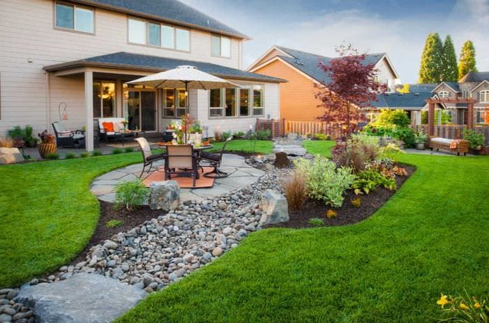 идея современного декорирования двора