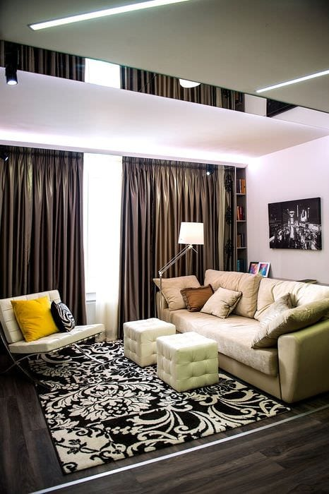 пример необычного дизайна гостиной комнаты 16 кв.м