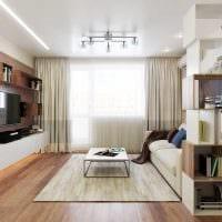 вариант яркого интерьера гостиной комнаты 16 кв.м фото