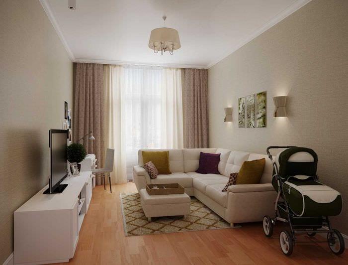 пример яркого стиля гостиной 19-20 кв.м