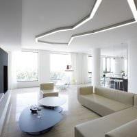 вариант светлого декора гостиной комнаты в стиле минимализм фото