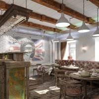идея светлого интерьера ресторана в стиле лофт фото