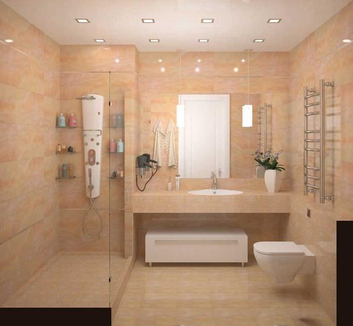идея яркого стиля ванной комнаты 4 кв.м
