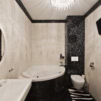идея яркого стиля ванной комнаты с угловой ванной фото