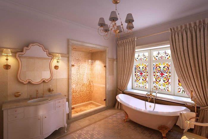 идея яркого декора ванной комнаты в классическом стиле