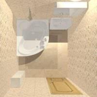 вариант необычного интерьера ванной комнаты с угловой ванной картинка