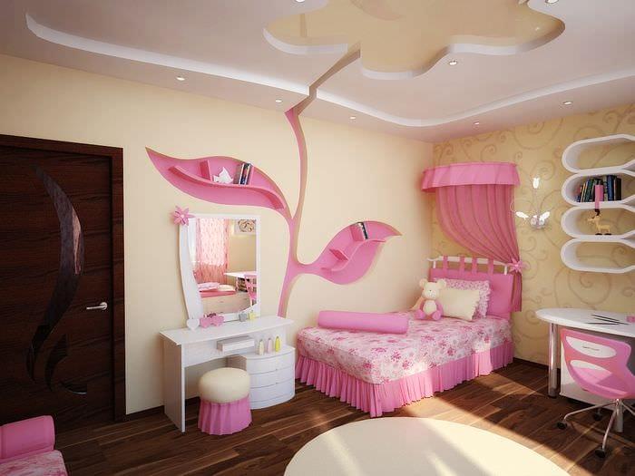 идея красивого дизайна детской комнаты для девочки