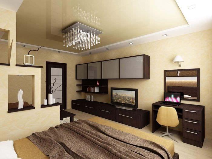 вариант необычного дизайна гостиной 16 кв.м
