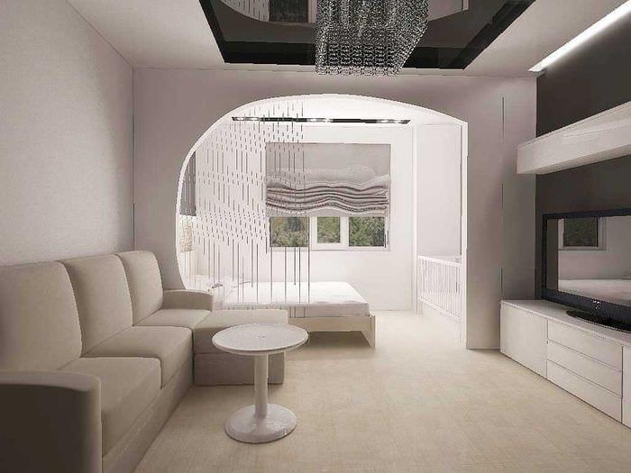 пример светлого интерьера гостиной комнаты 19-20 кв.м