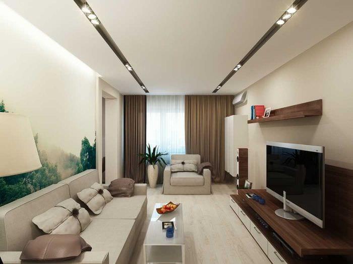 вариант необычного декора гостиной в стиле минимализм