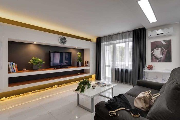 идея светлого дизайна гостиной в современном стиле