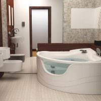 идея современного стиля ванной с угловой ванной фото