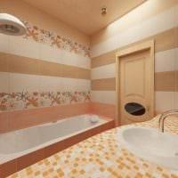 пример красивого стиля ванной в бежевом цвете фото