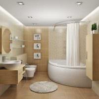 идея красивого интерьера ванной с угловой ванной фото
