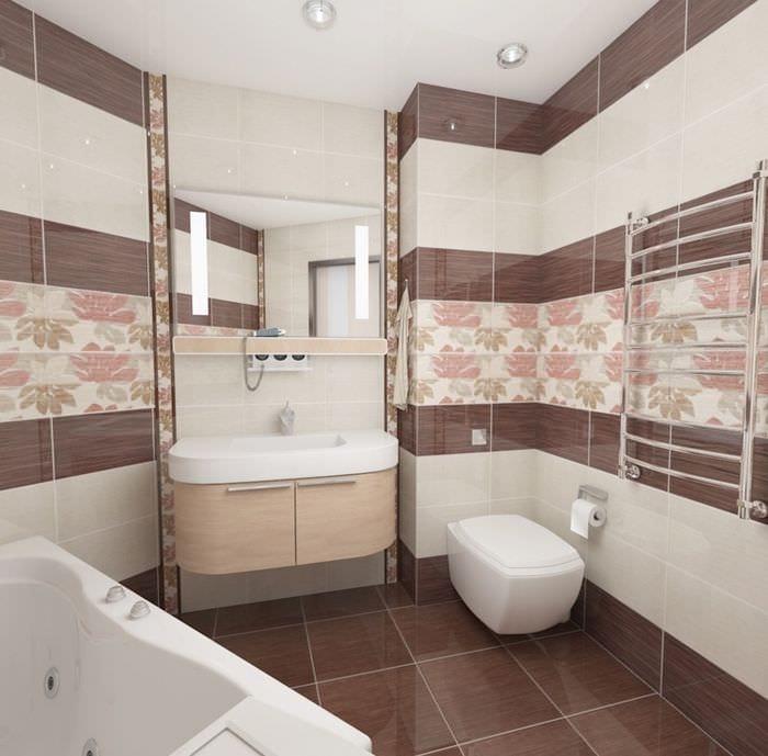вариант светлого стиля ванной комнаты в бежевом цвете