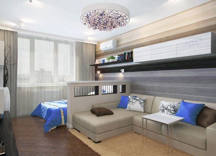 вариант яркого интерьера гостиной 16 кв.м