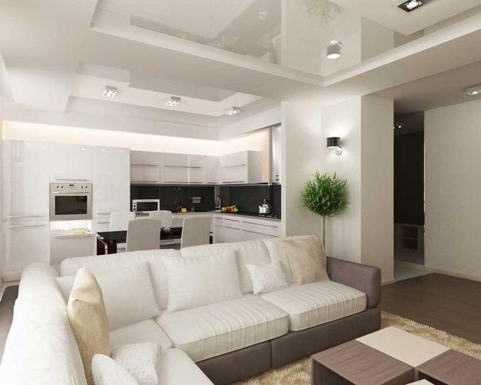 вариант необычного интерьера гостиной комнаты в современном стиле