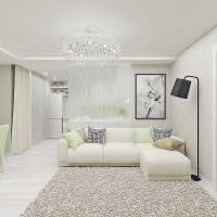 вариант яркого интерьера комнаты в светлых тонах в современном стиле фото