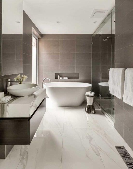 идея красивого интерьера ванной комнаты 2017