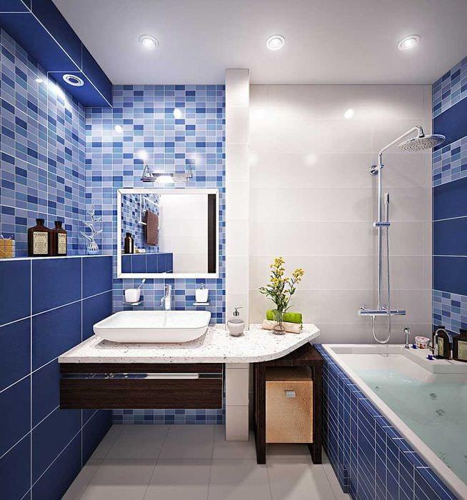 вариант яркого дизайна ванной комнаты 4 кв.м