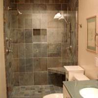вариант необычного дизайна ванной комнаты в бежевом цвете фото