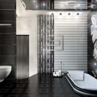 идея красивого стиля ванной в черно-белых тонах картинка