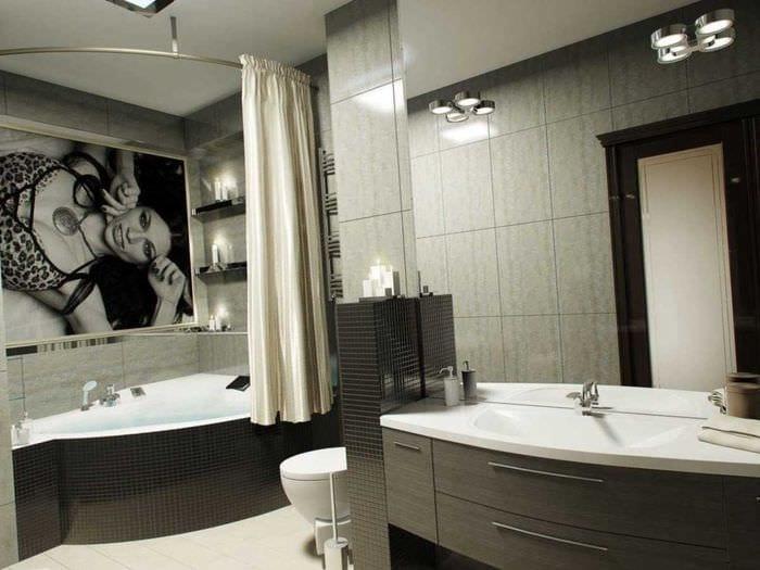 идея красивого стиля ванной с угловой ванной