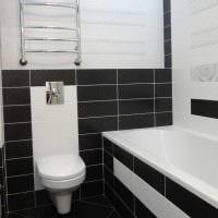 вариант яркого дизайна ванной в черно-белых тонах фото