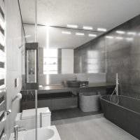 идея красивого интерьера ванной комнаты в черно-белых тонах картинка
