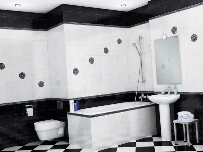 идея необычного дизайна ванной комнаты в черно-белых тонах