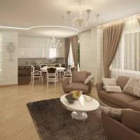 идея светлого интерьера гостиной в частном доме картинка