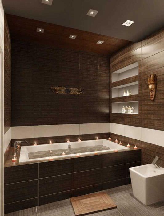 вариант сочетания насыщенного коричневого цвета в дизайне гостиной